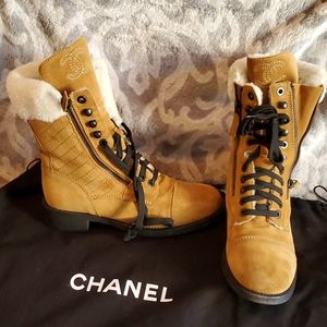 Chanel Merinos Shearling Ankle Boot 39.5 Brown